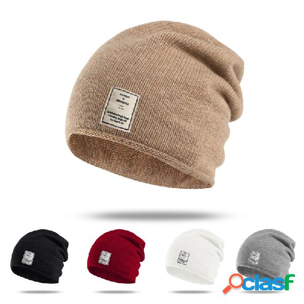 Mujer Hombres Warm Solid Wild Knit Beanie Sombrero al aire