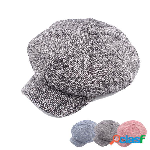 Mujer Hombres vendimia Gorro octogonal de lino Sombrero