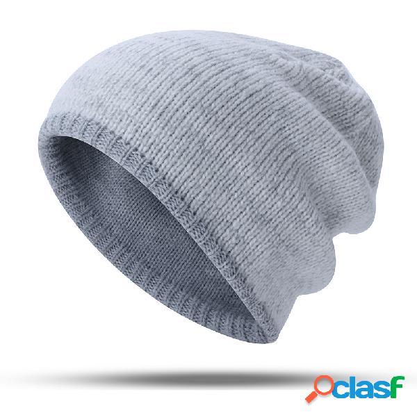 Mujer Men Warm Knit Beanie Sombrero al aire libre Casual a