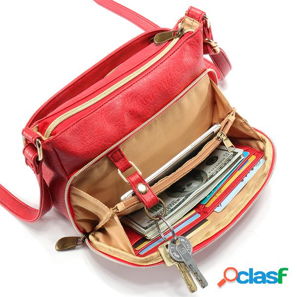 Mujer Multi-bolsillos Crossbody de cuero PU sólido Bolsa