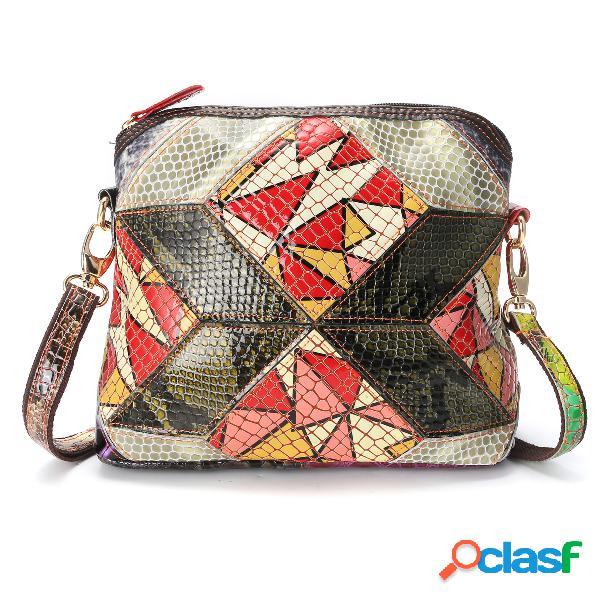 Mujer Patchwork Art Shell Bolsa vendimia Crossbody Bolsa