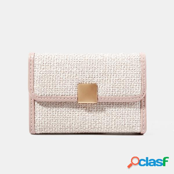 Mujer Portatarjetas de lino con monedero corto