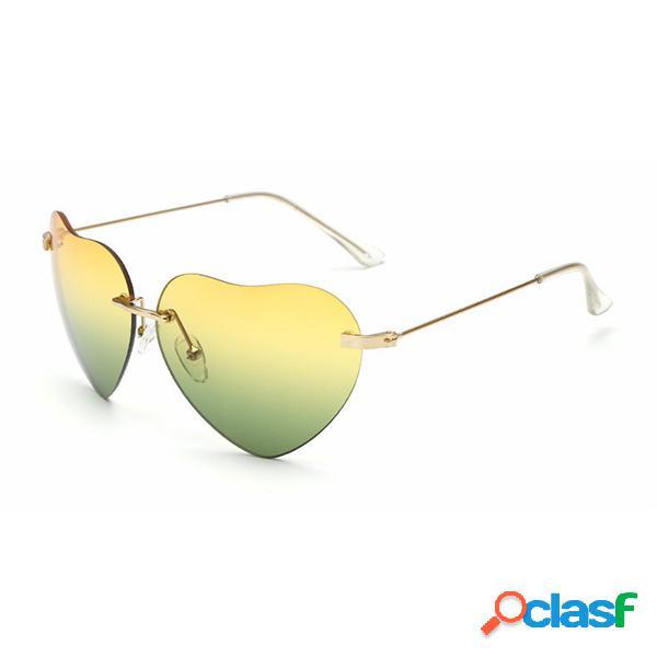 Mujer Retro en forma de corazón UV400 Anti-UV Gafas de sol