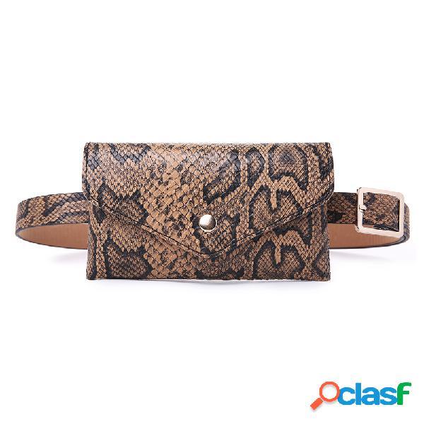 Mujer Serpiente Patrón Cintura Bolsa Monedero de cuero PU