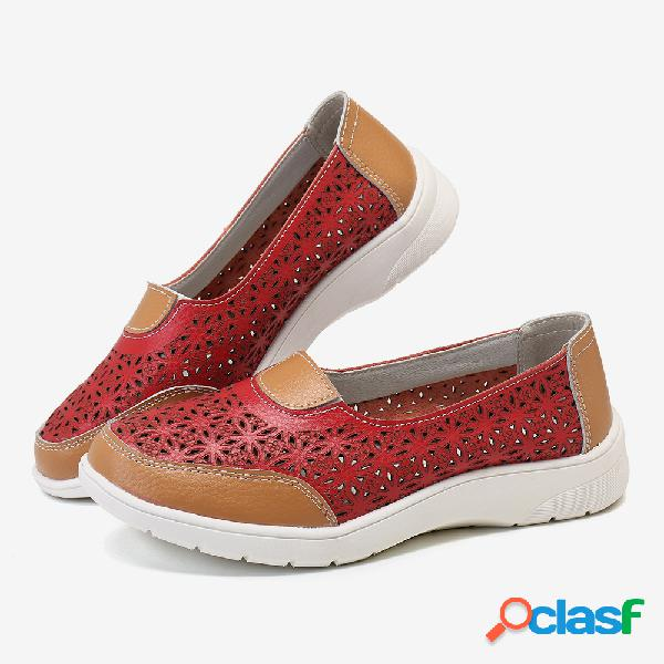 Mujer Slip de cuero hueco en color liso Soft Zapatos de