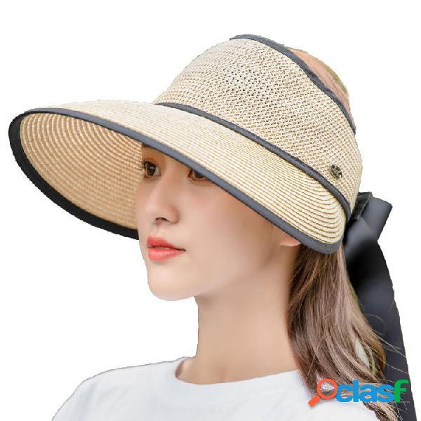 Mujer Summer Sunscreen Empty-top Straw Sombrero al aire