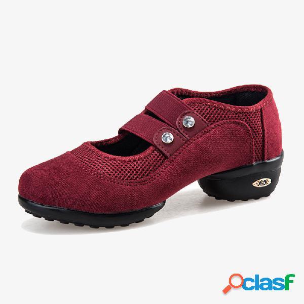 Mujer Zapatos casuales de baile de tacón bajo de malla Soft