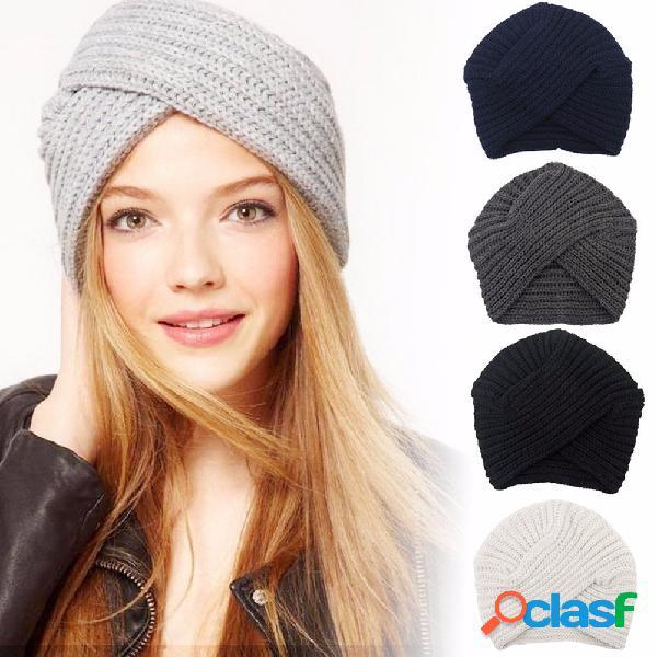 Mujeres de punto Beanie Headband Crochet Headwrap Invierno