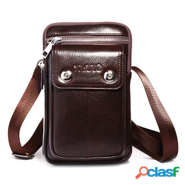 Multifuncional 7 Inch Teléfono Bolsa Piel Genuina Cintura