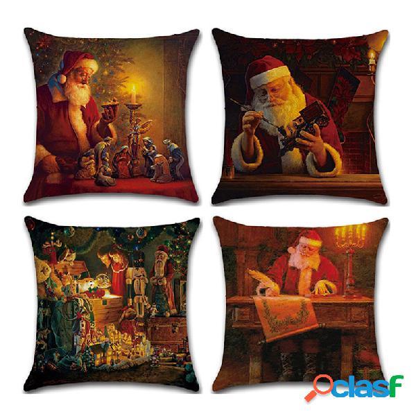 Navidad Santa Claus Patrón Funda de cojín de lino Sofá