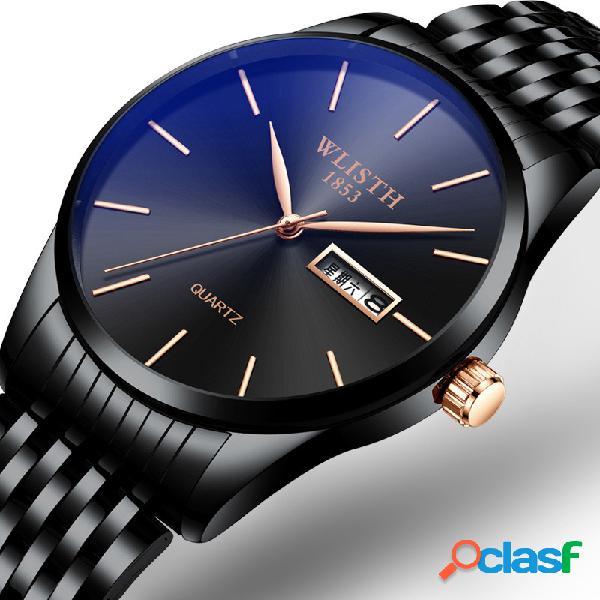 Negocios Reloj de cintura de acero inoxidable Moda hombres