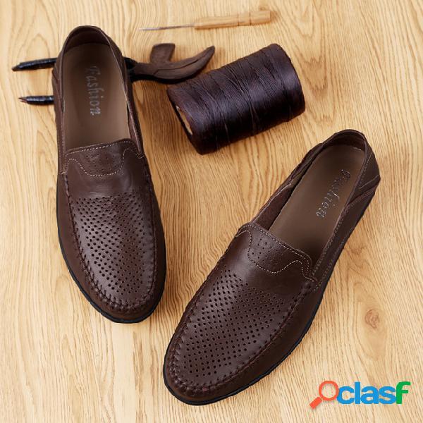 Nuevos zapatos de cuero para hombre, temporada, guisantes,
