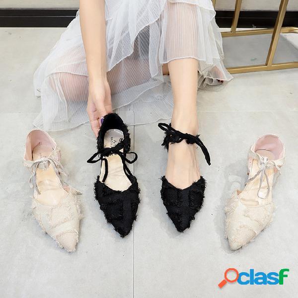 Nuevos zapatos de mujer Moda gruesa con correas puntiagudas