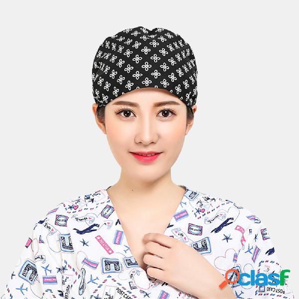 Nurse's Cotton Printed Beanie Sombrero Gorras quirúrgicas
