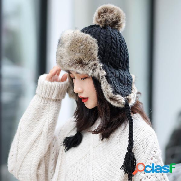 Orejeras gruesas y cálidas Lana tejida Sombrero Gorras de