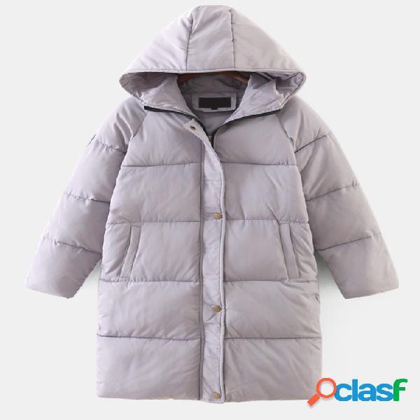 Otoño Invierno con capucha Color sólido Mujer Abrigo de