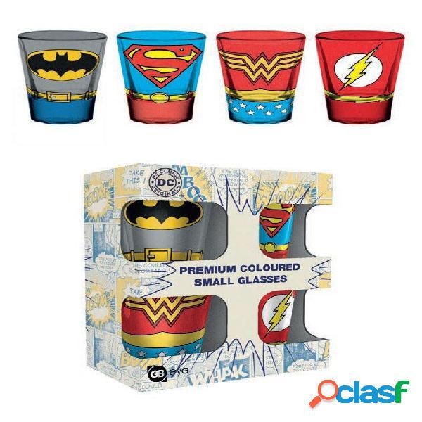 Pack 4 vasos de chupitos DC Comics