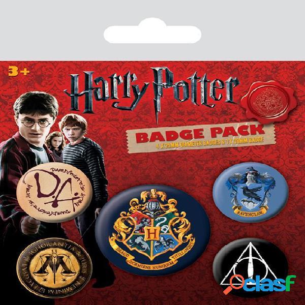 Pack 5 Chapas Harry Potter Hogwarts