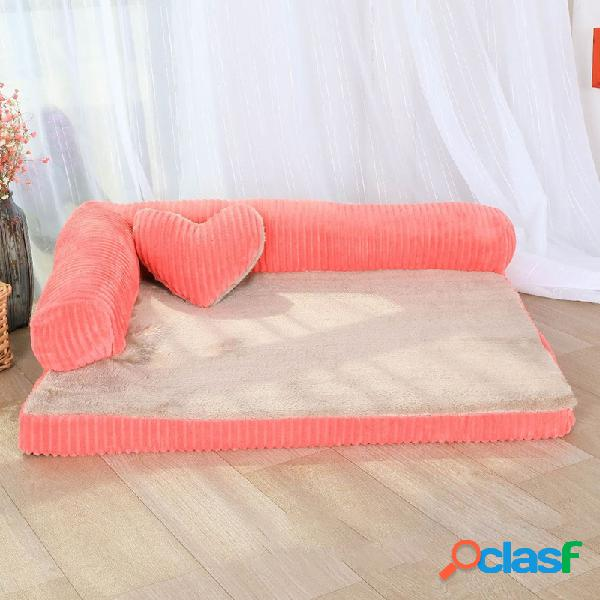 Pana de lujo Bolster Dog grande Sofá cama Pet Puppy Fleece