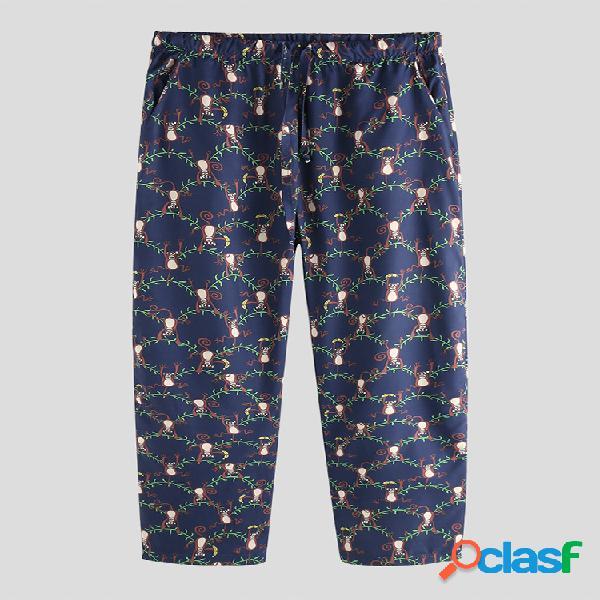 Pantalón de pijama con estampado divertido de mono para
