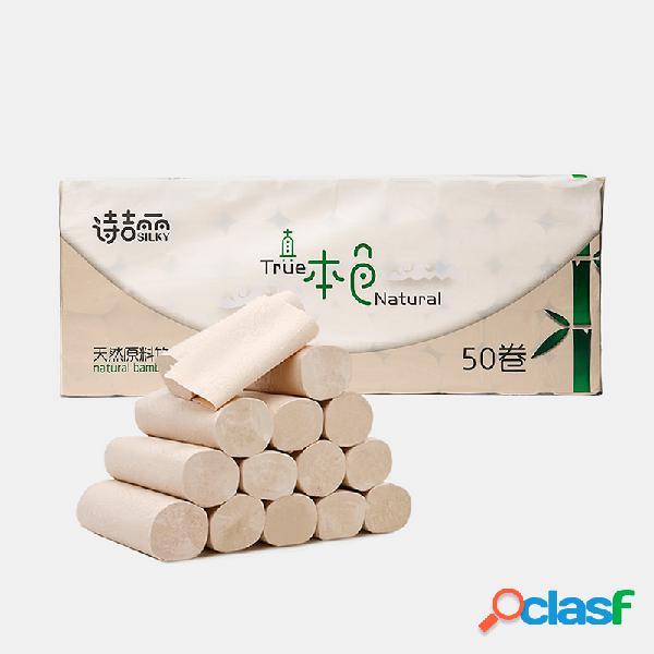 Papel de rollo de pulpa de bambú grueso natural de 4 capas
