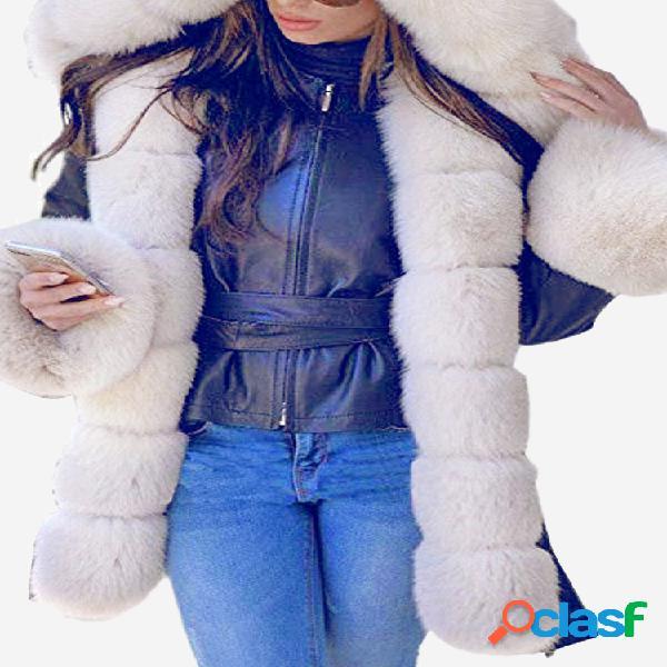 Patchwork Fleece con capucha Plus Tamaño Abrigo de invierno