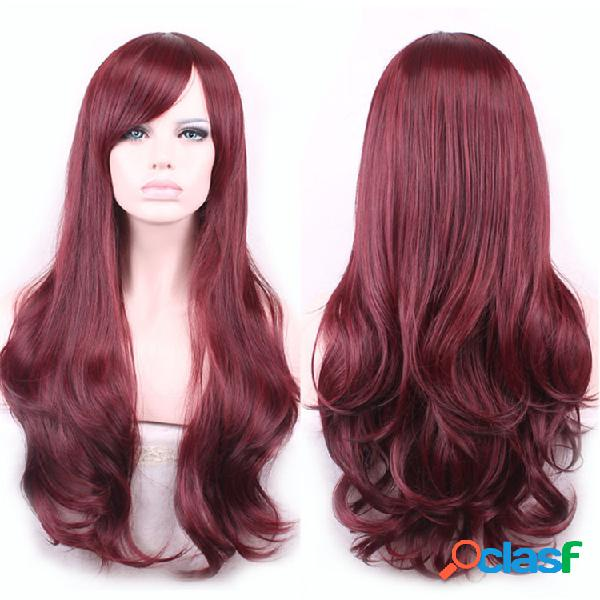 Peluca sintética larga ondulada roja de Brown con las