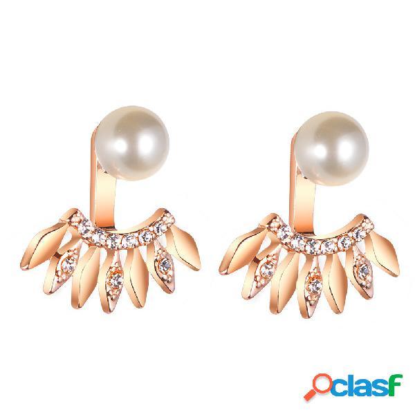 Perla de moda que cuelga Pendientes Rhinestone del brillo