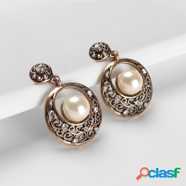 Perla geométrica retro tallada Colgante Pendientes Círculo