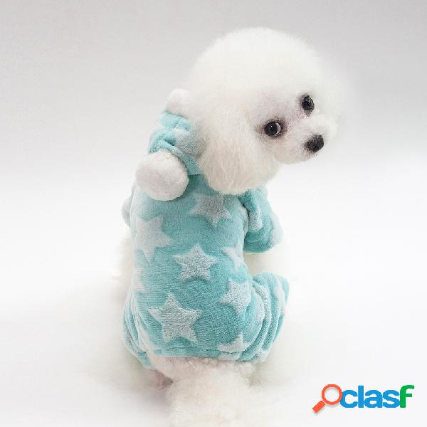 Pet Dog Star Fleece Invierno Cálido Sweater Cachorro Winter