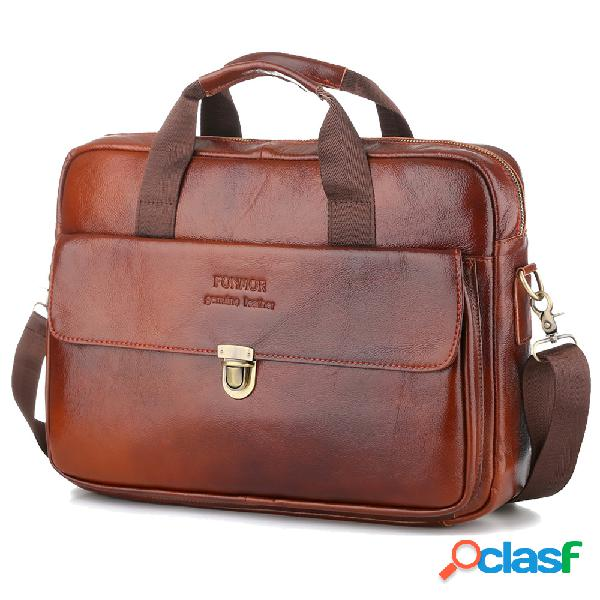 "Piel Genuina Business 14 ""Laptop Bag Retro Briefcases For"
