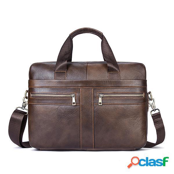 Piel Genuina Business Briefcase gran capacidad bolso hombro