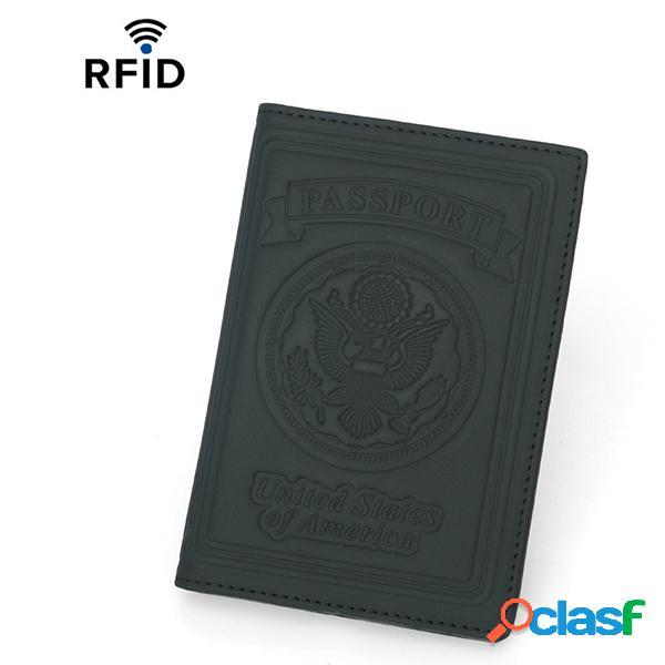 Piel Genuina RFID Titular de pasaporte antimagnético