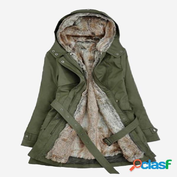 Piel sintética con capucha Casual Mujer Abrigo de invierno