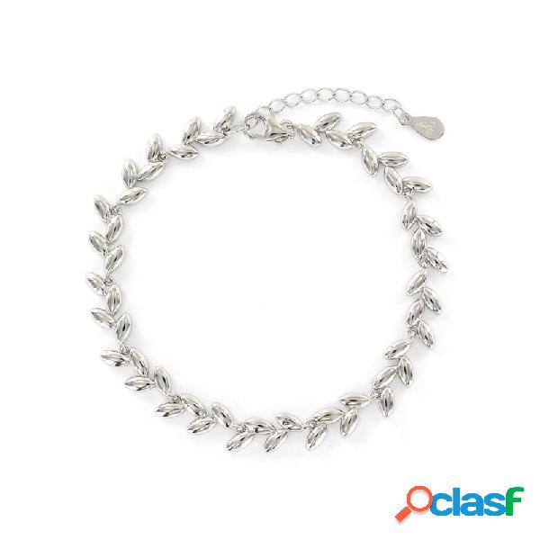 Pulsera Plata Mujer Hojitas 9108405