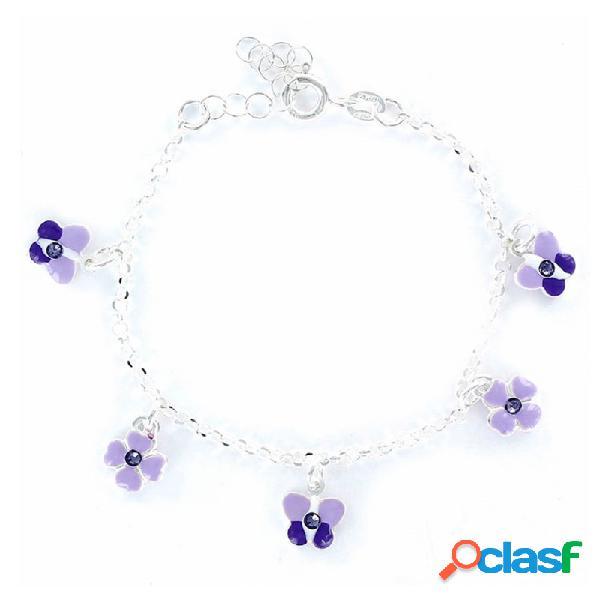 Pulsera Plata Niña Flores Y Mariposas 9097267