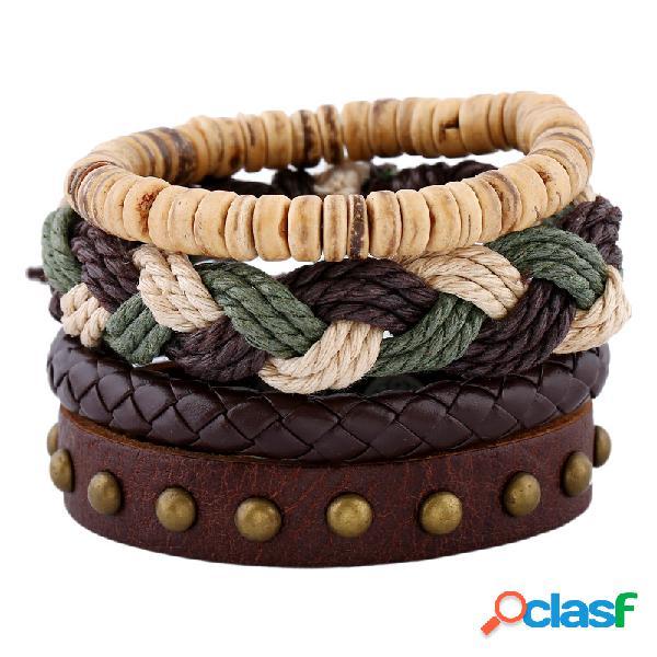 Pulsera de cuerda de cáñamo de armadura bohemia Pulsera de