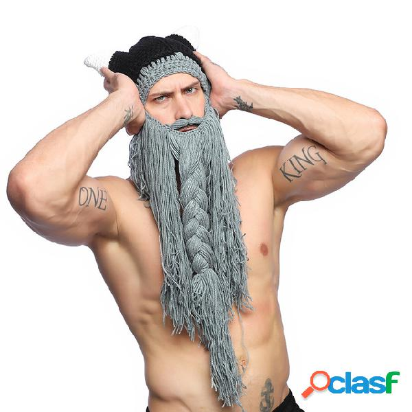 Punto de hombre Sombrero Gorro de cuerno Lana de barba larga