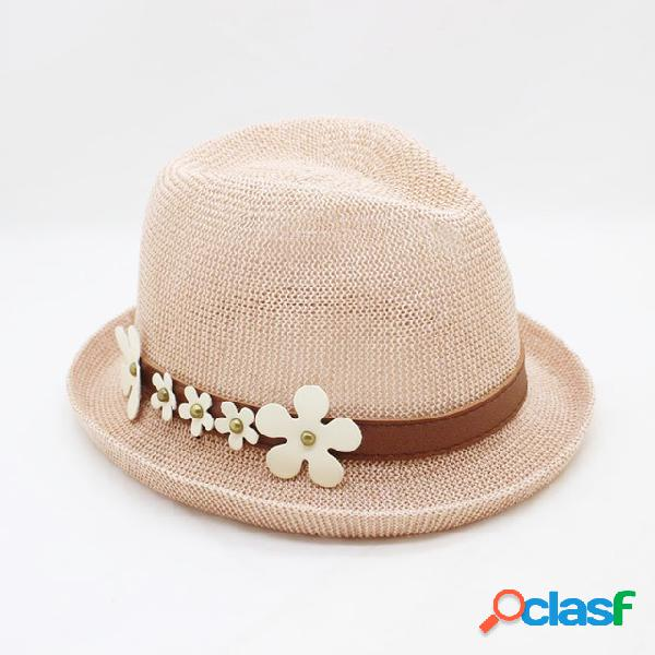 Pure Color Curled Straw Sombrero Small Daisy Sun Sombrero