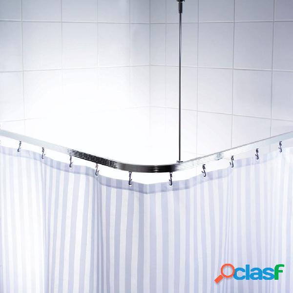 RIDDER Riel de cortina de ducha de esquina con ganchos