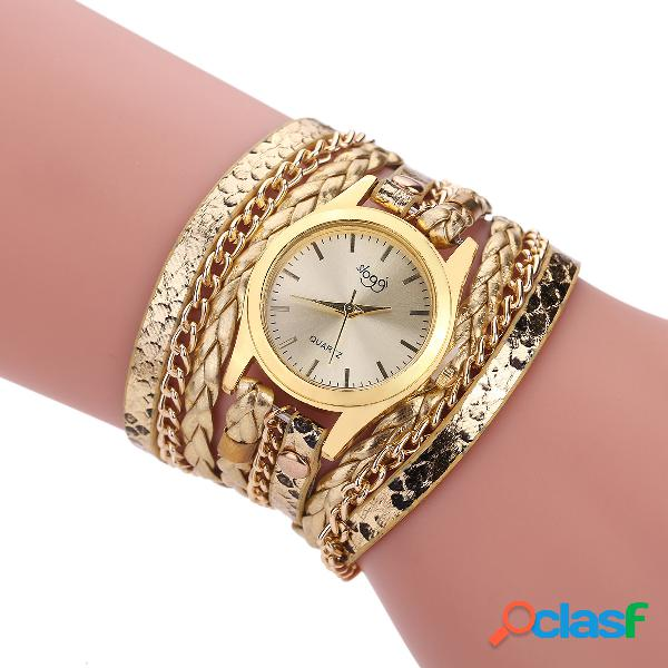 Reloj de pulsera de cuero de múltiples capas de moda