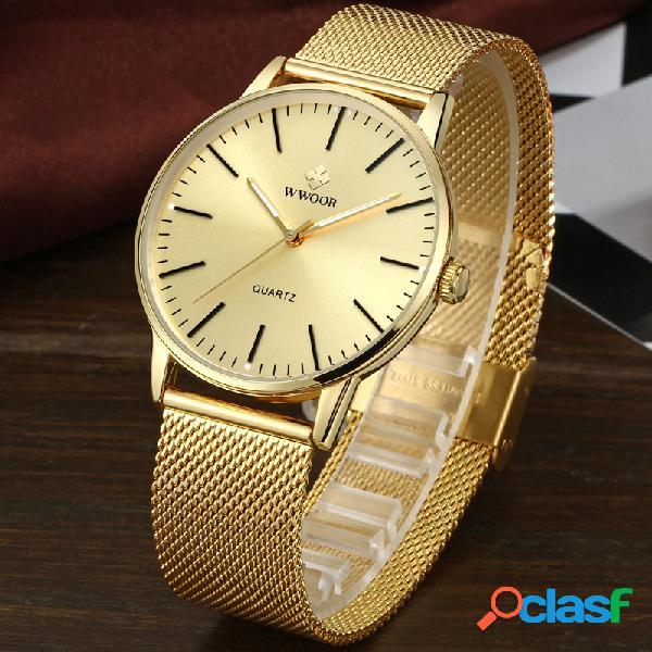 Reloj de pulsera de hombre de acero completo estilo casual
