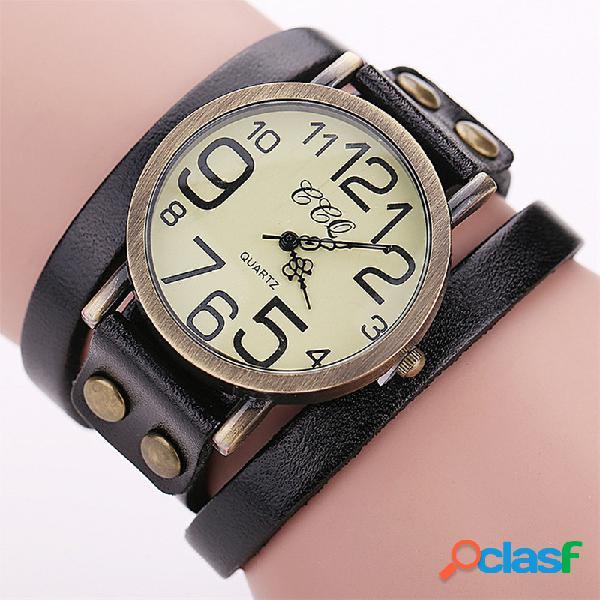 Relojes de pulsera de cuero de pulsera de múltiples capas