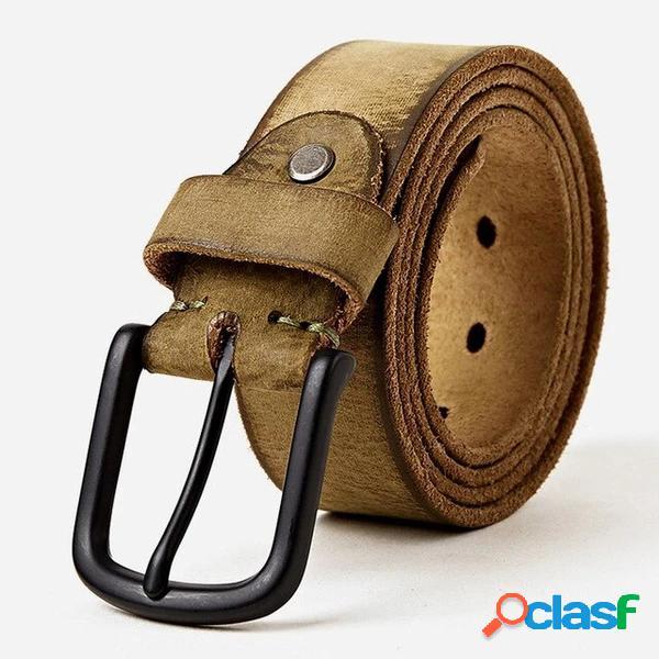 Retro Cinturón Piel Genuina Hombre Cinturón Pin de correa