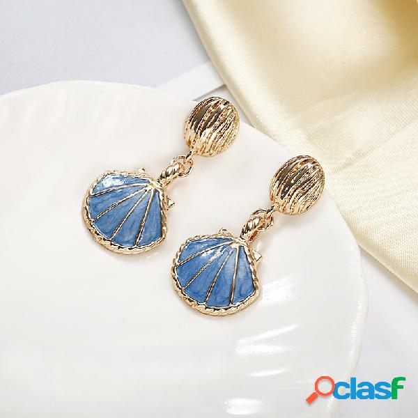 Retro Sea Style Shell Oreja Drop Azul Blanco Estilo largo