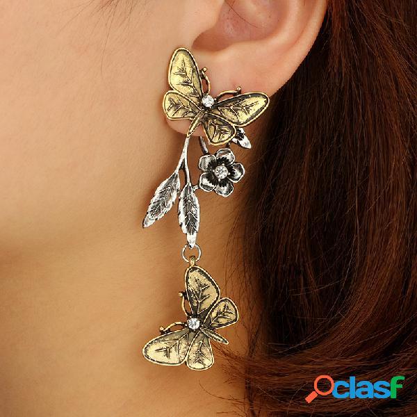 Retro oro flor de mariposa Oreja gota estilo largo aleación