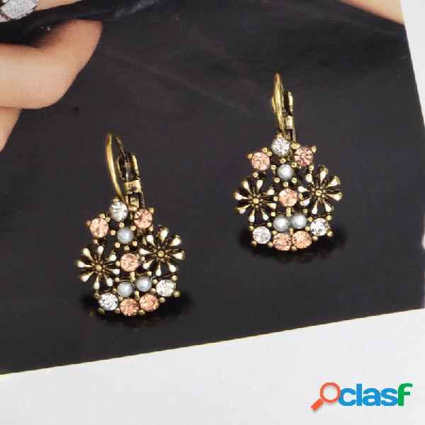 Rhinestone retro flor Pendientes diamante perla Oreja gota