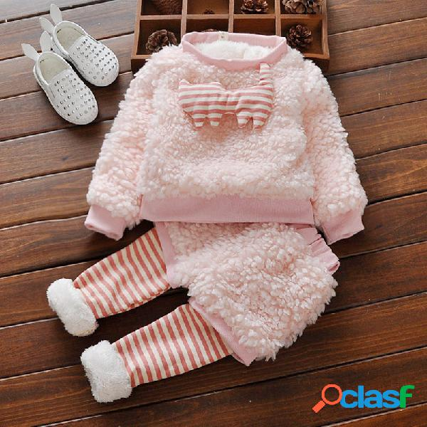 Rosa Conjunto de ropa para bebés de lana gruesa y cálida