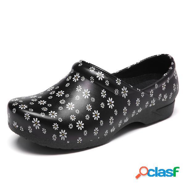 SOCOFY Slip-on floral ligero Impermeable Zapatos de trabajo
