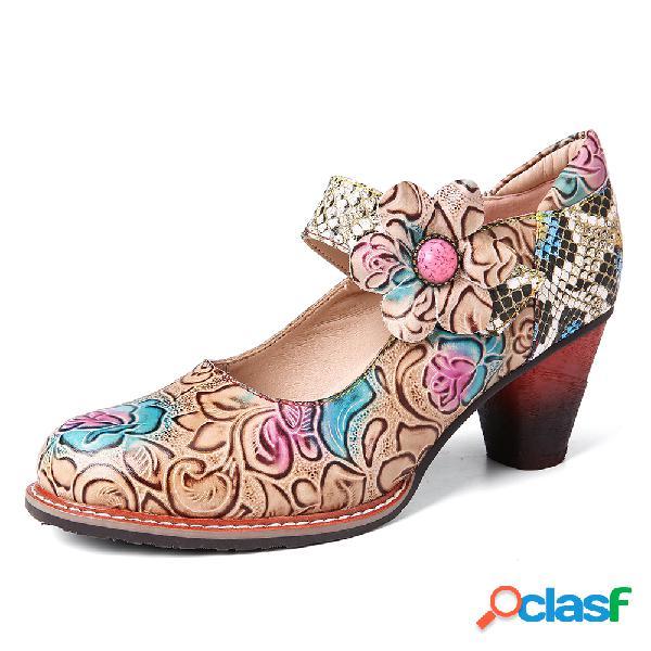 SOCOFY Zapatos de tacón grueso de piel de serpiente de